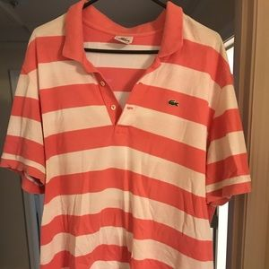 Lacoste pink and white polo size 8 (XXL)